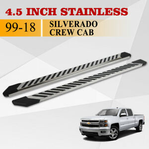 For 01 16 Chevy Silverado Crew Cab 4 5 Side Step Running Board Nerf Bar S S Fl