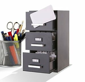 Mini File Cabinet Business Card Holder 3 Drawer Box Office Document Organizer