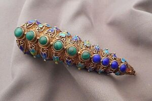 Exotic Old Chinese Nail Guard Brooch Enameled Silver Filigree W Cabochons