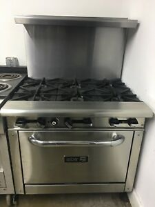 New 36 Gas Commercial Range 6 Open Burners 1 Oven Asber Aer 6 36