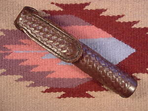 Tex Shoemaker Duty Tooled Brown Leather Asp Baton Carrier Holster