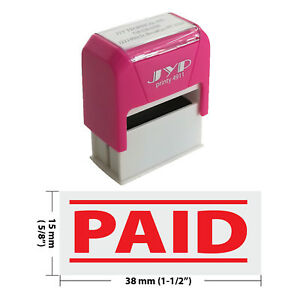 10 Pcs Box Paid W 2 Lines Self Inking Rubber Stamp Jyp 4911r 02 Red Ink
