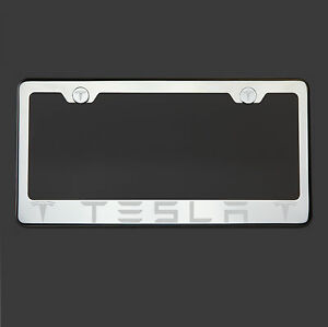 Polish Mirror Stainless Steel Tesla Laser Etched License Plate Frame Screw Cap
