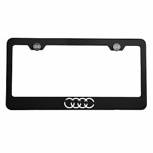 Matte Black Audi Logo Mirror Laser Etched Ss License Plate Frame Tag Screw Cap