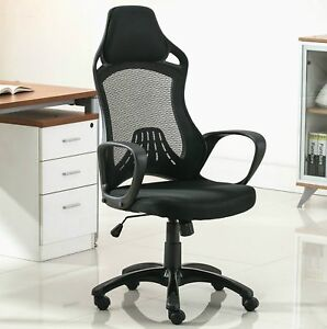 Anji High Back Mesh Office Desk Chair With Headrest And Arms