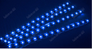4 X 15led 30cm Blue Led Waterproof Car Motorcycle Lighting Flexible Light Strip