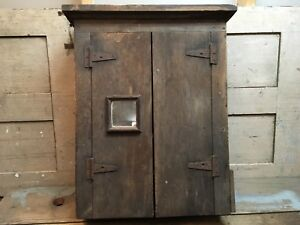 Antique Wood Hanging Wall Cabinet Primitive Cupboard 5 Shelves Two Door Mirror