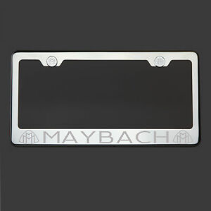 Polish Mirror Stainless Steel Maybach Laser Etched License Plate Frame Screw Cap