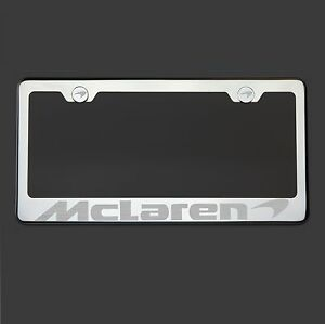 Polish Mirror Stainless Steel Mclaren Laser Etched License Plate Frame Screw Cap