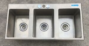 Stainless Steel Drop In Sink 3 Commercial Three Compartment 10 X 14 X 10 Used