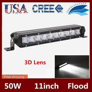 11inch 50w Single Row Cree Led Offroad Light Bar Offroad 4wd Truck Flood 12v24v