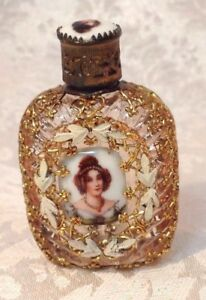 Rare Vintage Czech Perfume Bottle W Gold Filigree Overlay 2 Cameos Inserts