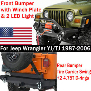 Rock Crawler D Rings Front Bumper Rear Bumper Tire Carrier For 87 06 Jeep Yj Tj