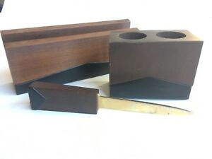 Vintage Scheibe Product Mcm Wood Office Supplies Pen Letter Opener Holders Set