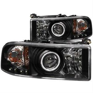 Anzo Projector Headlights Black With Halo Ccfl For Dodge Ram 1500 94 01 111065 Fits 2001 Dodge Ram 1500 Sport