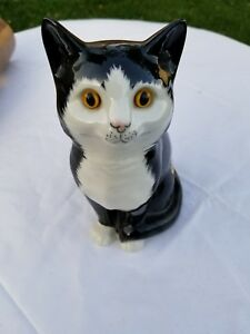 Staffordshire Black And White Cat Glass Eye Original From England