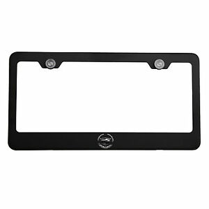 Matte Black New Cadillac Logo Mirror Laser Etched License Plate Frame Screw Cap