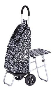 New Trolley Dolly With Seat Damask Shopping Grocery Foldable Cart Free2dayship