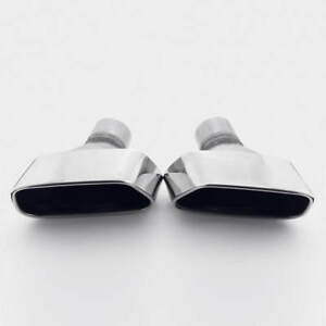 Pair 2 25 Inlet Slant Cut Square Outlet T304 Stainless Steel Exhaust Tips