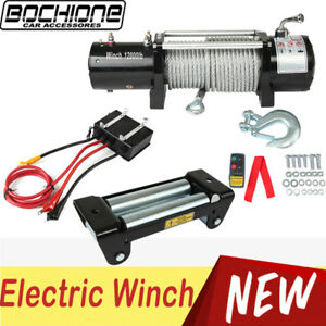 12000lbs 5444kg Electric Winch With Steel Wire Rope Wireless Remote Control Suv