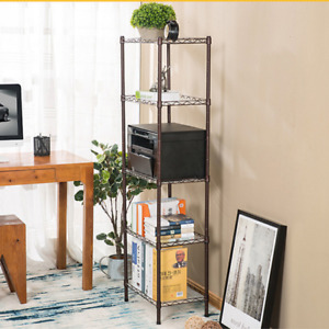 Heavy Duty 5 tier Adjustable Steel Wire Shelf Office Book Storage Rack W Wheels