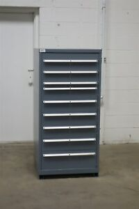 Used Lista 9 Drawer Cabinet Industrial Tool Parts Storage Bin 1240 Vidmar