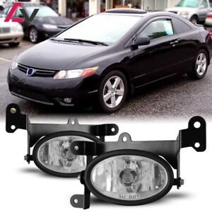 For Honda Civic Coupe 06 08 Clear Lens Pair Bumper Fog Light Wiring Switch Kit