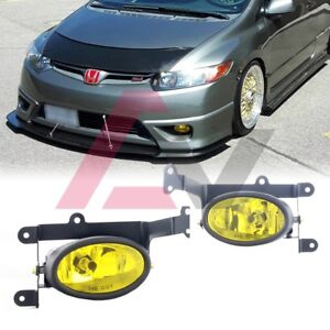 For Honda Civic Coupe 06 08 Yellow Lens Pair Bumper Fog Light Wiring Switch Kit