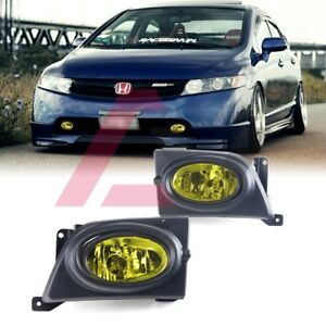 For Sedan Civic 06 08 Yellow Lens Pair Bumper Fog Light Lamp Wiring Switch Kit