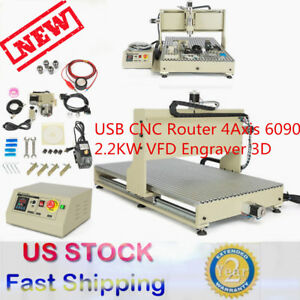 Usb 4 Axis 6090 2200w Cnc Router Engraver Engraving Milling Carving Machine