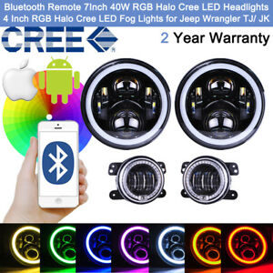 Remote Cree Rgb Halo Led 7 Headlights 4 Fog Lights For Jeep Wrangler Jk Or