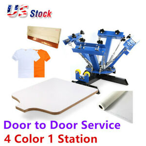 4 Color Screen Printing Press Machine Silk Screening Pressing Diy With 1 Station