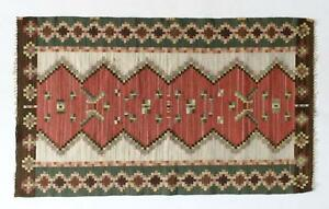 A Small Old Swedish Kilim Rug Early Mid 20th Century 1920 1950