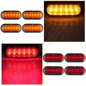 8x red Amber Stop turn tail Brake Reverse Light Flange Mount For Truck Trailer