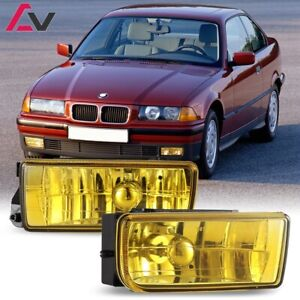 For Bmw E36 92 98 Yellow Lens Pair Bumper Fog Light Lamp Oe Replacement Dot Bulb