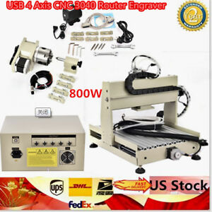 Usb 4 Axis Cnc 3040 800w Cnc Router Engraver Engraving Milling Carving Machine