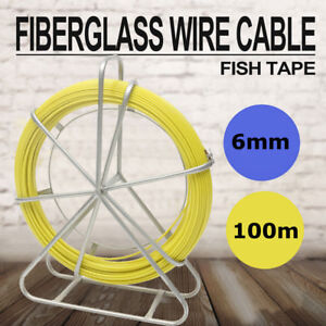 6mm100m Fish Tape Fiberglass Wire Cable Puller Electrician Electrical Plumber Us