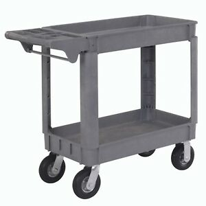Small Deluxe 2 Shelf Plastic Utility And Service Cart 6 Pneumatic Casters
