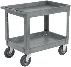 Best Value Plastic 2 Shelf Tray Service And Utility Cart 8 Pneumatic Caster