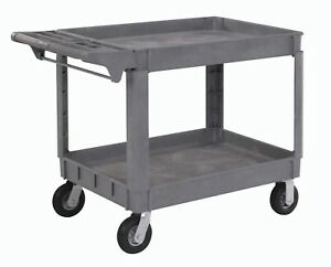 Large Deluxe 2 Shelf Plastic Utility And Service Cart 6 Pneumatic Casters