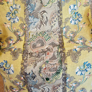 18th Spitalfields Silk Brocade Panel Silver Metallic Threads Flowers Bells
