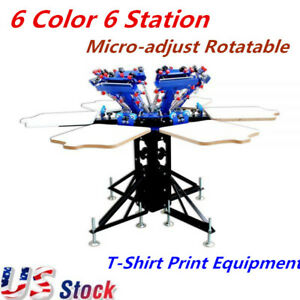 6 Color 6 Station Manual Screen Printing Press Micro adjust Rotatable Equipment