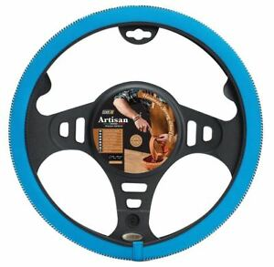 Italian Hand Made Artisan Premium Blue Leather Car Steering Wheel Cover Glove