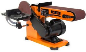 4 x 36 in. Belt 6 in Disc Corded Sander Steel Base Power Tool Orange Bench