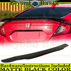 2016 2017 2018 Honda Civic 4dr Rs Matte Black Factory Style Spoiler Wing W led