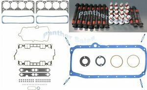 Chevy 350 5 7 5 7l Vortec Marine Mercruiser Fel Pro Head Pan Gasket Set Bolts