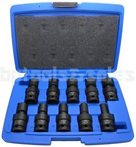 10 Pc 1 2 Dr Metric Shallow Universal Impact Ball Swivel Socket Set