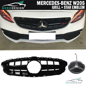 Fits 15 18 Benz C Class W205 E63s Amg Style Black Grill W Red Star Emblem