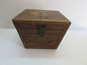 Vintage Old Handcrafted Treasure Chest Wooden Document Jewellery Box Collectible