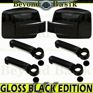 For 2007 2012 Dodge Nitro Glossy Black Door Handle Covers Mirror Covers